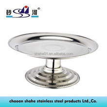 stainless steel fruit candy round tray with stand