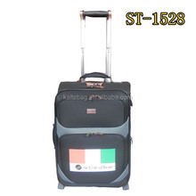 Bronze color accessories match dot material soft trolley case with 2 rubber wheels