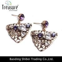 Purple Color Earring Holder Wooden Jewelry Findings ER50321