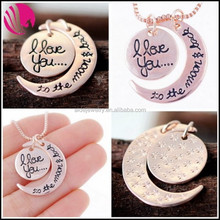 personalized jewellery I love you moon and back Pendant bestfriends necklace moon jewelry