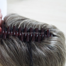 Customized human hair extension gray hair weave ponytail