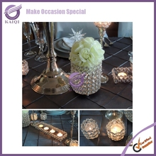 K6511 hot sale elegant crystal beads tea light candle holder, small candle holder for wedding