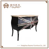 Classic European British style black lacquer Union Jack print dresser