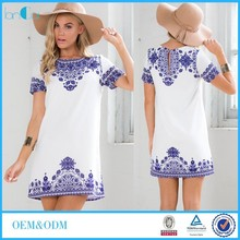 Wholesale Ladies White Printed Shift Dresses Short Sleeve China Manufacturer