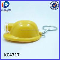 Promotional Gift Safety Helmet Kryring Creative Plastic Hard Hat Led Keychain