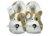 custom cat animal shaped plush slippers for kids/plush pet pillow slippers
