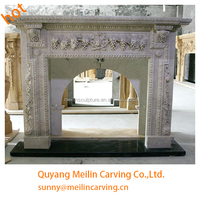 gray marble machine carving decorative wall mount electric fireplace surrounds