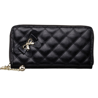 fashion lambskin ladies leather cheap wallets with bow