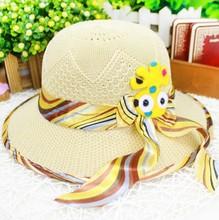 W91368A 2015 summer kids girls sun beach hat bowknot hats little girls straw hats