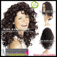 Crazy Hot Sale 2015 Tangle Free Natural Black Dyeable Factory Price 100% Temple Indian Remy Human Hair Cheap-Long-Curly-Hair-Wig