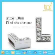 10mm Crystal Stud Alloy Letter Beads - Free Shipping Mixed Letters