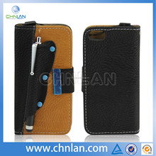 High quality Standing Flip Leather Case Cover for iphone 5 stylus holder