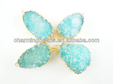 CH-JAB0354 HOT!!! factory direct sale big facted rock druzy connector,turquoise color stone charm connector bead,fashion charm