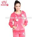 2014 nueva oem de diseño de moda al por mayor baratos de china sudaderas con capucha traje de terciopelo conjunto jogging mujer