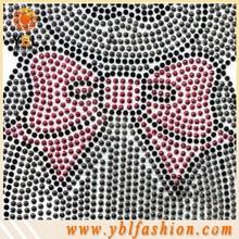 Grey Bear with Pink Bow Iron on rhinestone applique work design