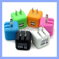 Colorful Dual USB Wall Charger 2.1A Cube Charger Block for Smartphones