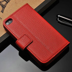 Stand and wallet PU leather back magnetic closure cell phone cover for Iphone 4 4S