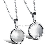Couples Stainless Steel Mirror Style Love Forever Theme Pattern Pendant Necklace