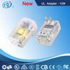 UL head pin plug 12V dc 1A transparent switching power supply for LED lights