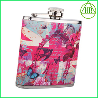 Hot sale LFGB 6oz stainless steel heat-transfer pocket wholesale whisky hip flask with leather covered best gifts for her