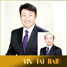 "6"" 100% human Hair Men Short wigs Full Virgin Black Wig Hairpiece Toupee black brown"