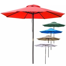 9ft Wooden Outdoor Patio Umbrella W/ Pulley Market Garden Yard Beach Deck Cafe Wedding Sunshade Opt