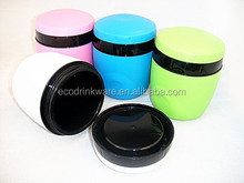 plastic food jar with many colors