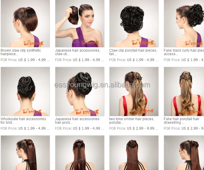 Ponytail Hair Extensions Synthetic Wavy Claw Clip Pieces Wig Size 22inch