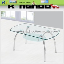 clear top ,frosted shelf tempered glass and chromed legs living room furniture coffee table