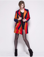 fashion dress plus size autumn women's clothing turn-down collar Stripe splicing wool coat for women