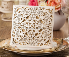 2015 Gatefold square hollow laser cut invitations cards for wedding