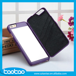 2016 new cell phone accessories MIRROR pu leather case for iphone 6 pc flip cases