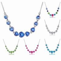 Six colors Necklace Guangzhou Fashion Jewelry Market, Teardrop Shaped Pendant Necklace, Heart Jewelry