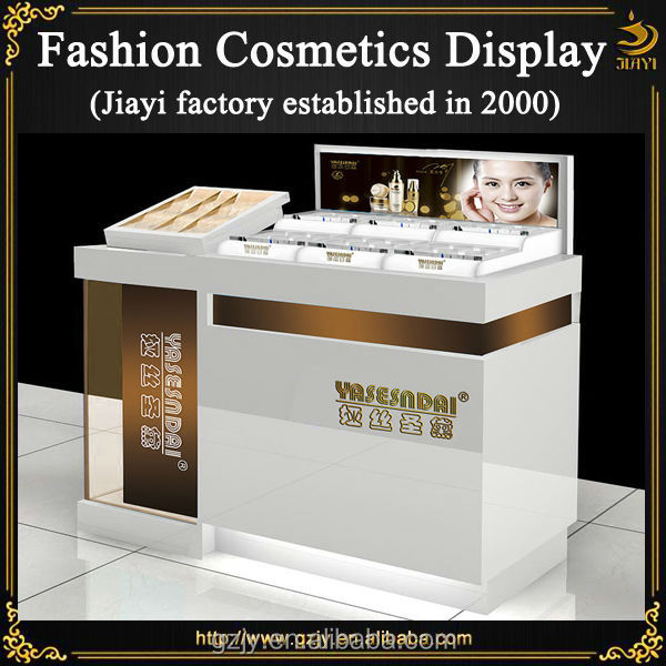 Modern high quality glass makeup display showcase and retail counter
