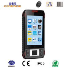 rugged 4.3inch android quad core mobile phone 2d barcode scanner, rfid reader writer pda, fingerprint time attendance system