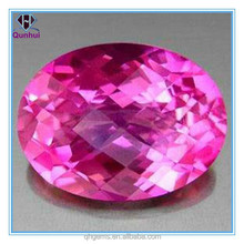 2014 New Product Fancy Oval shape Pink Faceted Cut CZ Stone