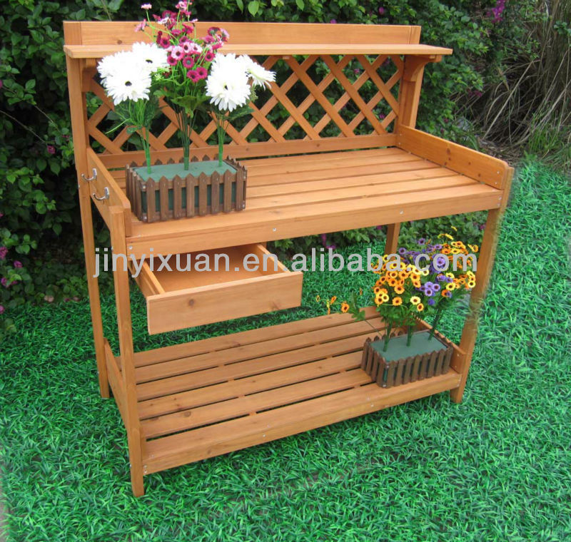 Bench For Plants Garden Wooden Plant Stand Table Outdoor Potting Bench
