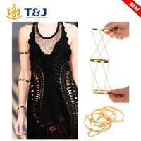New Hot Sell Personality Golden Three Circle Chain Wide Band Upper Arm Cuff Bracelet Armlet Bangles