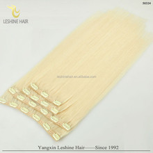 new style super quality too thick light color wholesale virgin double drawn clip in hair extension Indian
