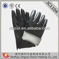 """14"""" Protective PVC oil heavy duty black industrial gloves with interlock liner"""
