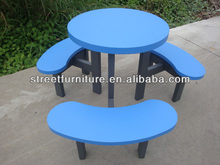Blue powder coated round street picnic table with benches outdoor or indoor