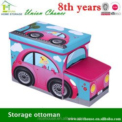 Morden foldable fashion car shaped toy storage stool