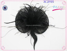Hot sale black fascinator with fashion feathers(approved by BV)