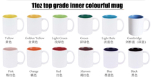 110z color changeable inside and rim handle coated mug