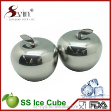 Apple Shaped Stainless Steel Whisky Stone Reusable Ice Cubes Chilling Stones for Whisky Wine