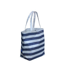 Blue white stripe foldable reusable shopping bag