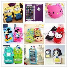 3D Cartoon Micky Mouse Snow White Hello Kitty Minions Silicone Rubber Case Cover For iPhone 5 / 5S/ 6 Disney Case