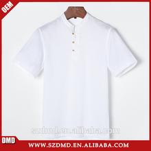 2015 moda personalizada corto manga de hombre sin cuello camisa de lino