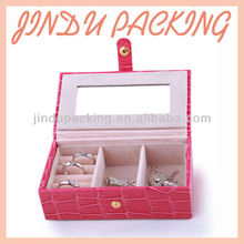 custom logo printed leather jewelry mirror gift boxes