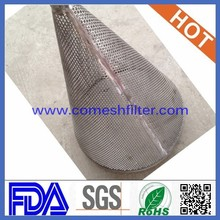 Reverse mesh lined outside cone type strainer cone